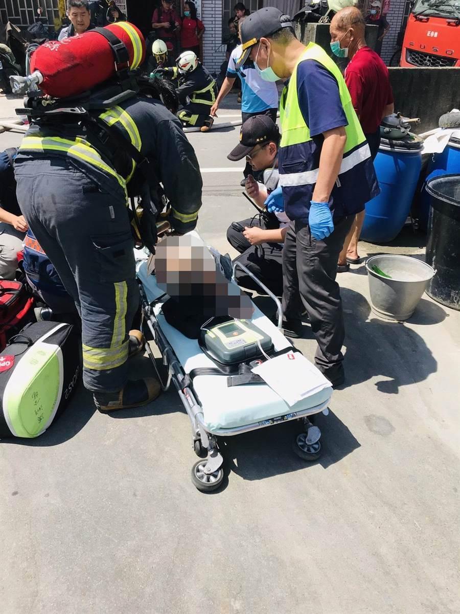 但受困火場內的2名女童,被救出時就已無意識OHCA。(消防局提供/吳建輝彰化傳真)