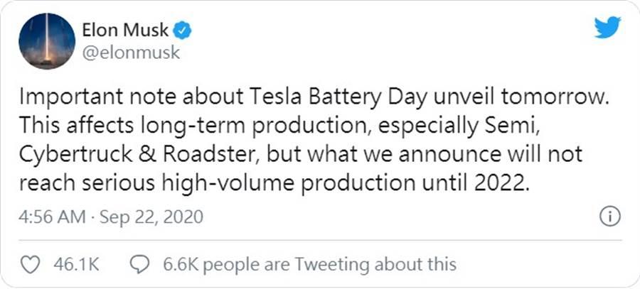 特斯拉新電池 2022 年才會大規模量產!馬斯克:Semi、Cybertruck、Roadster 長遠受惠最多