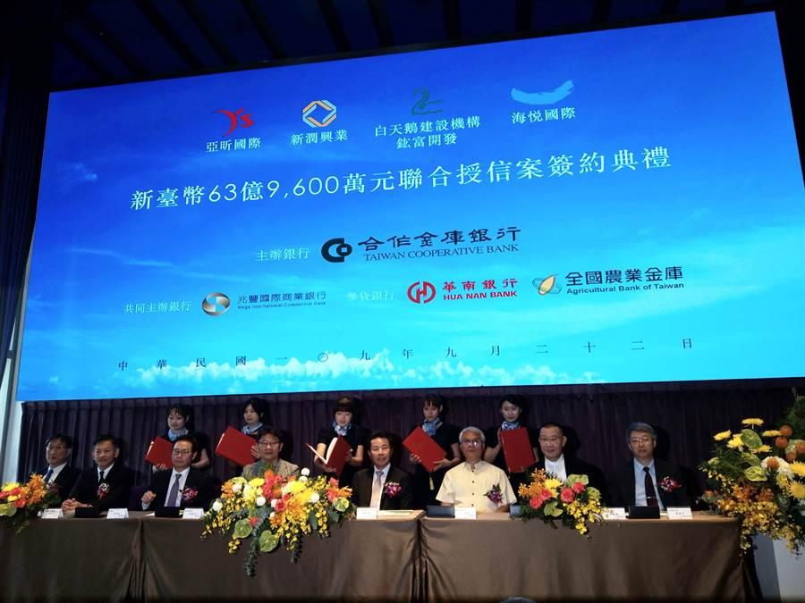 由合庫主辦,指標大案「擎天森林」今日於林口亞昕福朋喜來登舉辦63.96億元聯貸簽約典禮。(葉思含攝)
