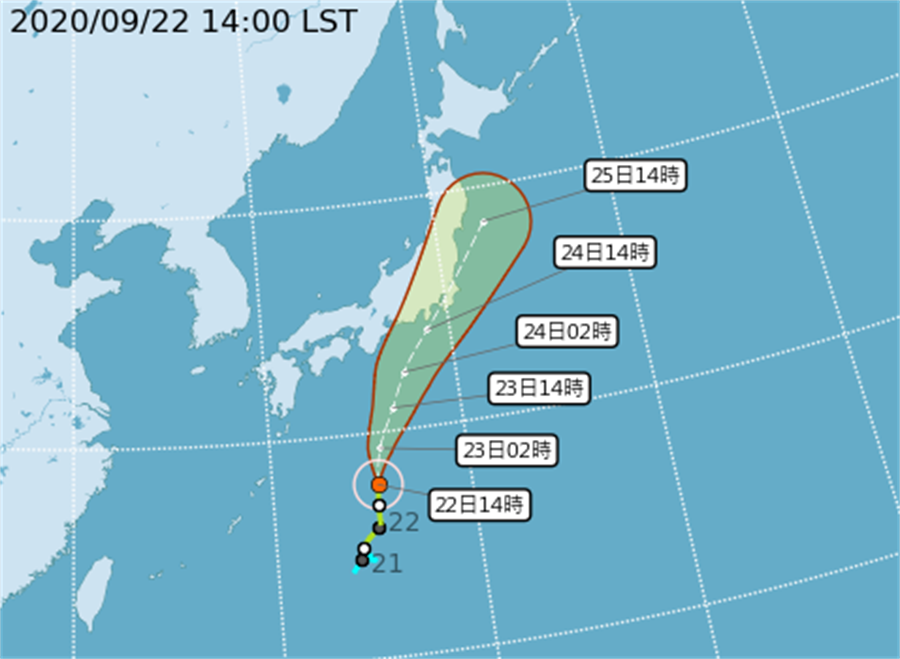 圖為颱風「白海豚」路徑。(翻攝自氣象局)