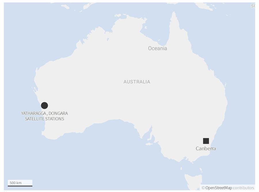 瑞典航太公司營運的澳洲太空監測站不再續租予大陸,可能重挫大陸航太事業發展。圖中右方是澳大利亞首都坎培拉,左方是瑞典原租予大陸的雅薩拉加太空監測站位置,美國NASA使租用的站點也在當地。(圖/瑞典航太公司)