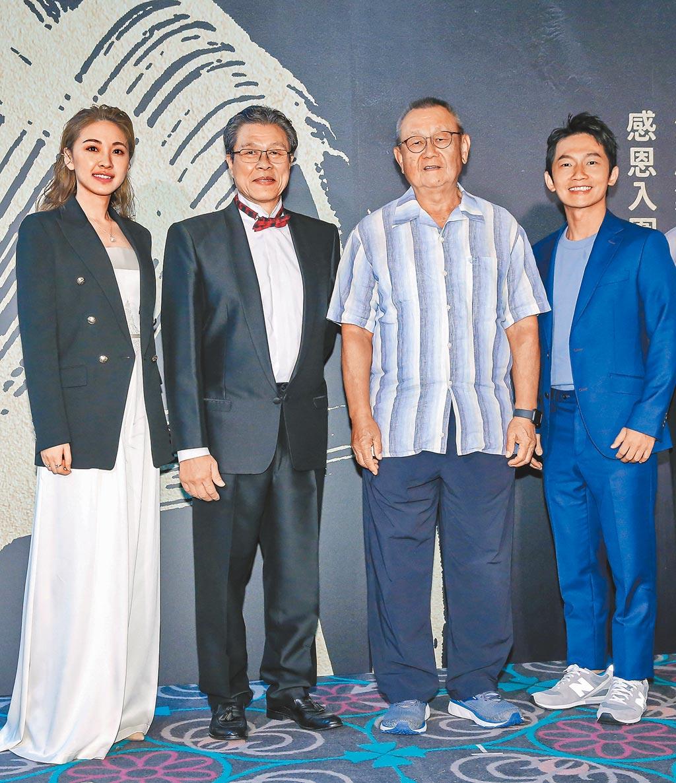 林玟誼(左起)、楊烈、導演李岳峰、蔡昌憲昨為《苦力》造勢。(羅永銘攝)