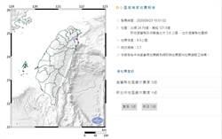 18:51宜蘭規模3.7地震 最大震度宜蘭3級