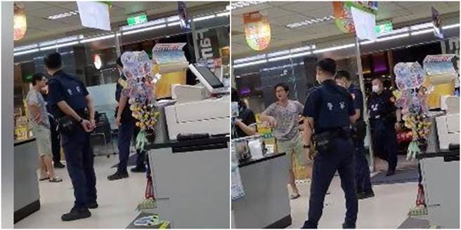 醉男不滿遭超商店員勸離,開始飆國罵,並跳針狂喊「我只是要吃蘿蔔糕」。(圖/翻攝自爆料公社)