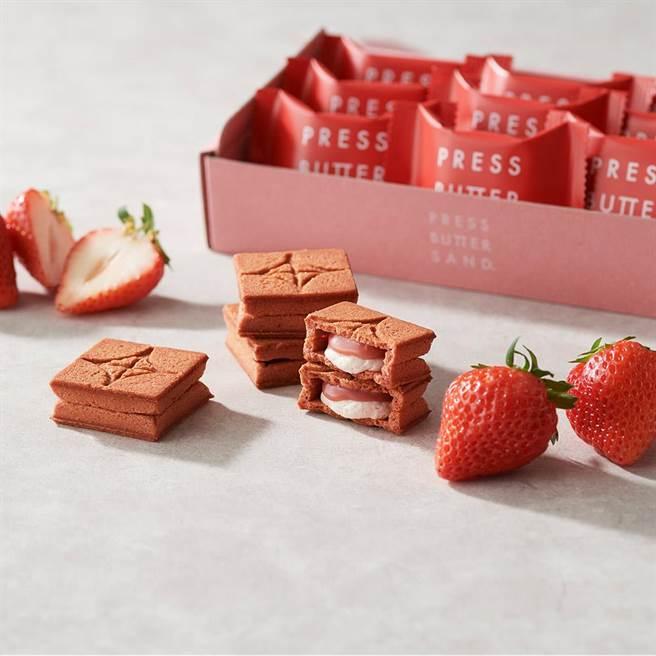 beauty STAGE美麗台PRESSBUTTERSAND焦糖奶油餅乾-草莓口味(獨家販售),1020元。(新光三越提供)