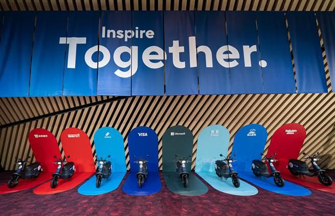 「GoShare for Business 企業方案」為企業夥伴量身打造三大服務模式 — 企業騎乘金、企業用戶、企業專屬車隊,集結九大跨產業龍頭宣誓一年內完成百萬趟騎乘、減碳 35 萬公斤。(GoShare提供/黃慧雯台北傳真)
