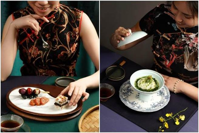 旗袍文化饗宴,上海菜「甜蜜三重奏」、「浮萍池浸珍珠斑」。(THE上海提供)