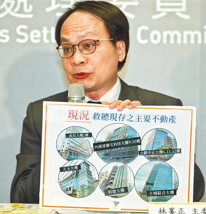 黨產會22日召開委員會議,認定中華救助總會為中國國民黨之附隨組織,名下財產全部予以凍結。黨產會主委林 迉縞l開記者會對外說明。(王英豪攝)