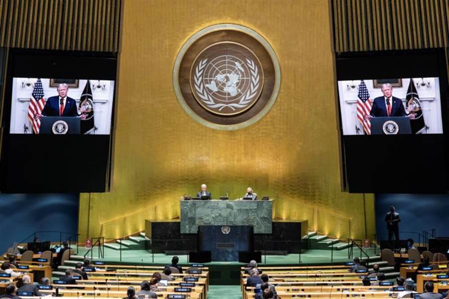美國總統川普在聯合國大會上發表視訊講話。(路透)