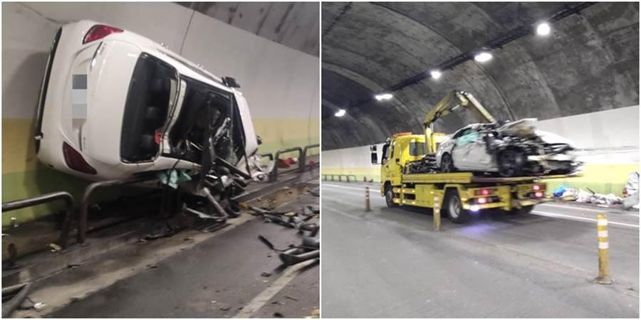 今清晨內湖康樂隧道發生一起賓士C300車禍,整個車身全變形,而維修費出爐後,讓人驚呆。(圖/民眾提供)