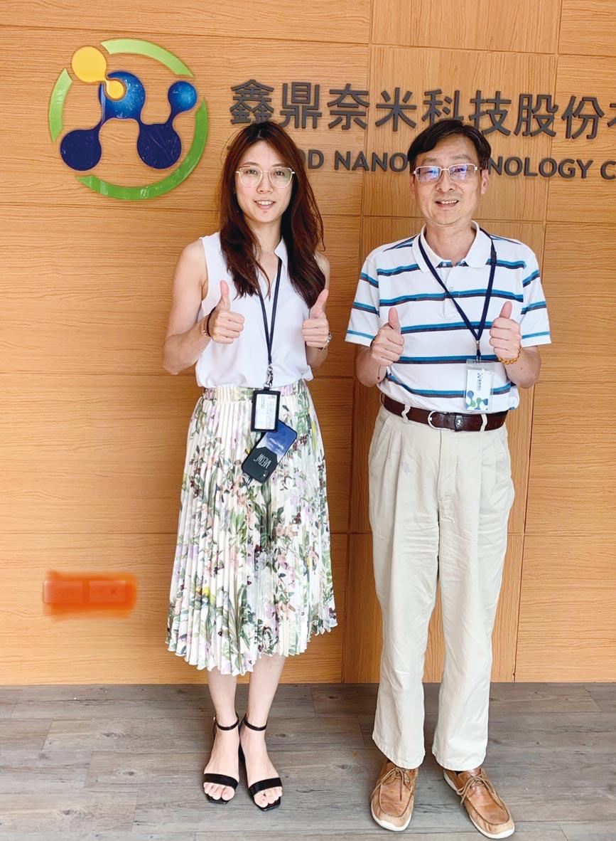 鑫鼎奈米科技共同創辦人邱群倫(左)與營運技術總監盧凌博士,目標成為世界頂尖奈米生技關鍵材料供應商。圖/魏益權
