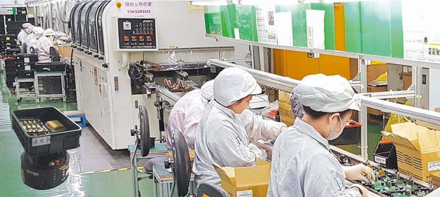 台灣塔奇恩科技AMRs搬運機器人,為無軌道行走,無後台作業系統,可廣泛使用於工廠運作。圖/塔奇恩提供