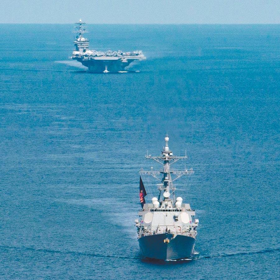 美国航母7月前往南海进行双航母演习。(取自美国太平洋舰队脸书)