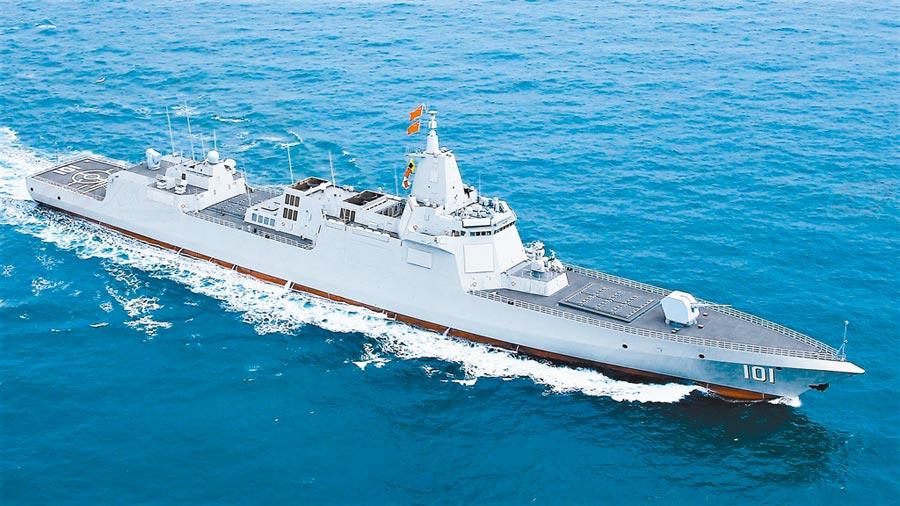 大陆055型飞弹驱逐舰首舰「南昌舰」。(取自人民网)