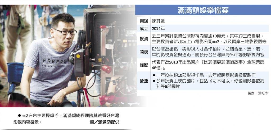 滿滿額娛樂檔案 mm2在台主要操盤手、滿滿額總經理陳其遠看好台灣影視內容錢景。圖/滿滿額提供