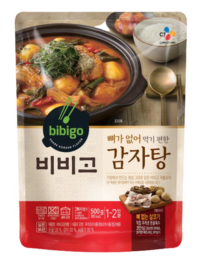 板橋大遠百韓國展CJ bibigo豬肉馬鈴薯湯,原價380元、特價320元,2包特價600元。(遠百提供)