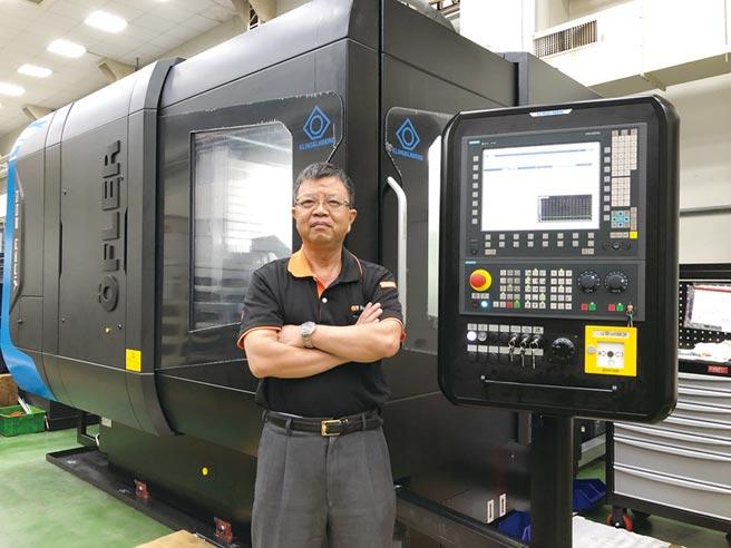 台穩公司總經理廖德川與德製HOFLER高階齒輪研磨機。圖/莊富安