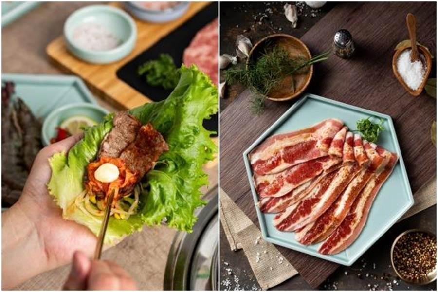 韓式烤肉包生菜(左)。即日起至「姜滿堂」4人同行請吃鮮嫩牛五花1盤。(豆府餐飲集團提供)