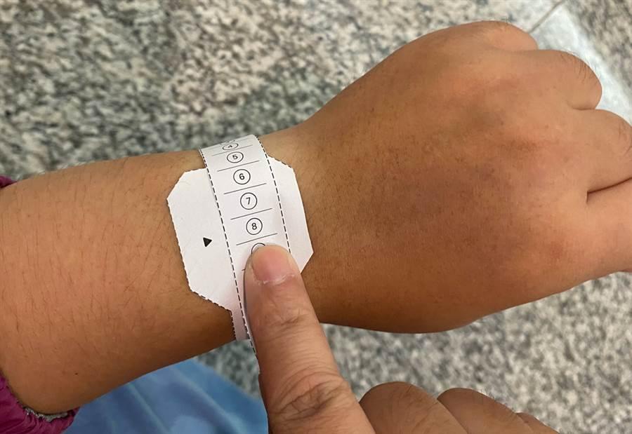 對照紙尺可以量測合適的單圈錶環錶帶。(黃慧雯攝)