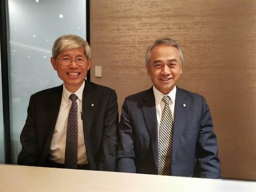 陽明董事長謝志堅(右)與前任總經理林文博(左)原是最佳拍檔。圖/張佩芬