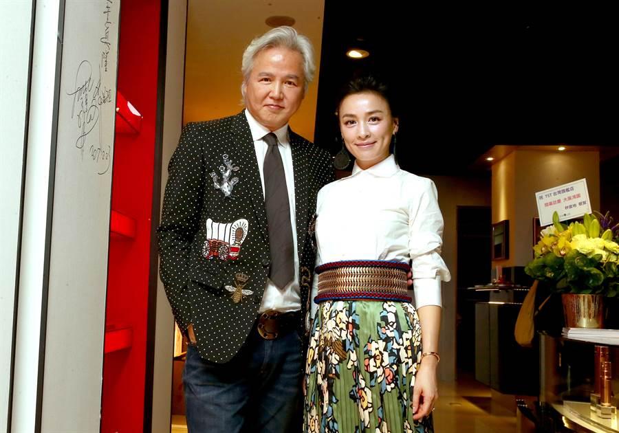 林瑞陽、張庭2017年返台出席自創品牌保養品旗艦店開幕記者會。(本報系資料照)