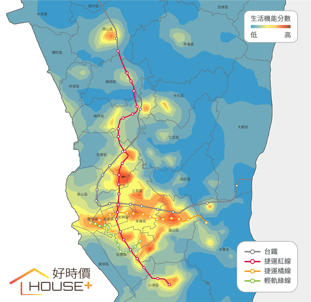 根據好時價統計,發現高雄市以捷運巨蛋站附近機能最好,其次為鳳山站周圍。(好時價提供)