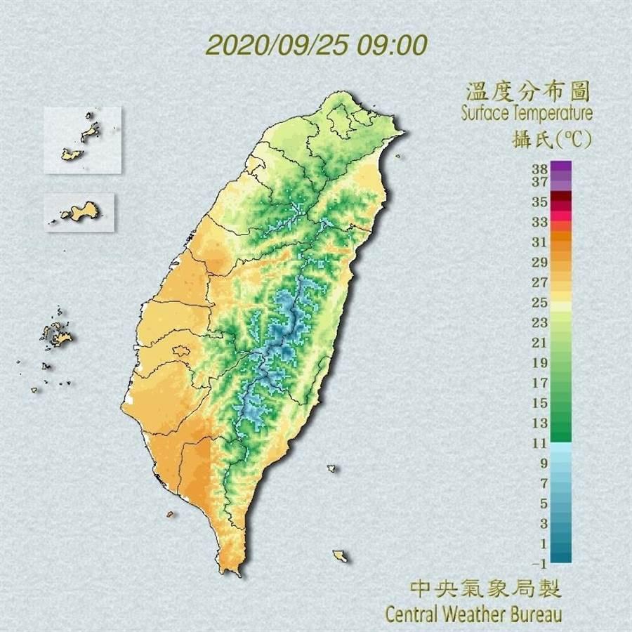 中央氣象局指出,清晨北部偏涼,低溫約21、22度,其他地方介於24到26度,白天北部及東半部較為舒適,高溫約28至30度,中南部則偏暖熱,高溫仍有32至34度。(翻攝自中央氣象局/林良齊台北傳真)