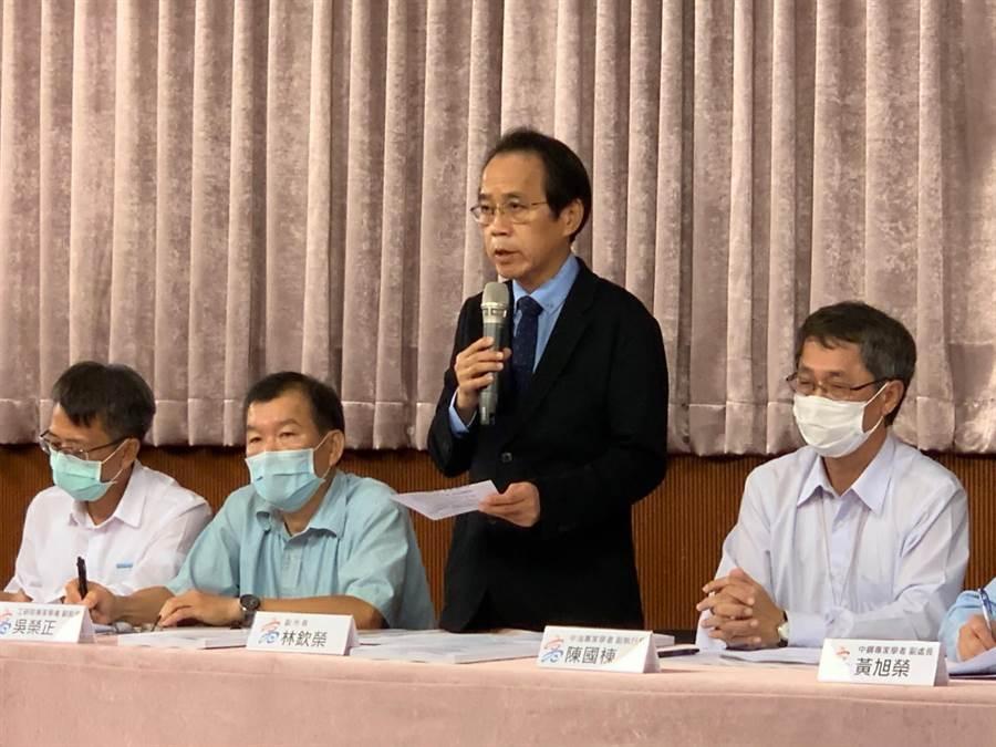 高市副市長林欽榮(中)今召開記者會,說明乙烯外洩調查結果。(柯宗緯攝)