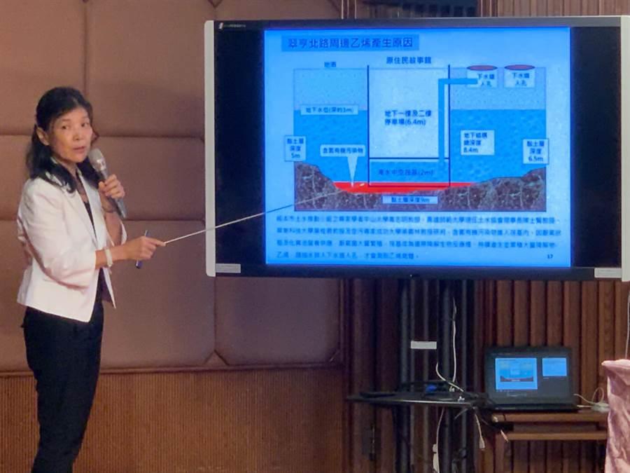 高市環保局長張瑞琿說明,因地下水汙染,造成乙烯外洩。(柯宗緯攝)