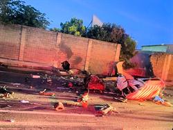 國道大貨車與貨櫃車追撞 一人無生命跡象