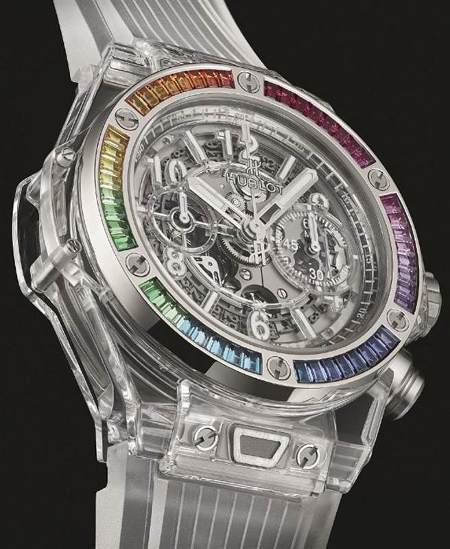 HOBLOT BIG BANG UNICO藍寶石彩虹腕表,全台1只,291萬1000元。(微風提供)