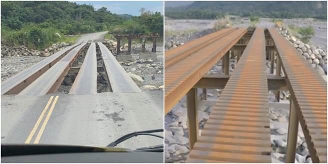 毫無任何護欄的便橋,橋面的寬度也只有一個輪胎寬一點點,但砂石車卻能20秒通過,網大讚神技之外,卻也讓人嘆「根本在過奈何橋」。(圖/翻攝自臉書社團)
