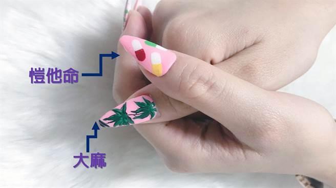 吳瑤紅在大姆指彩繪的愷他命、大麻。(警六分局提供/洪榮志台南傳真)