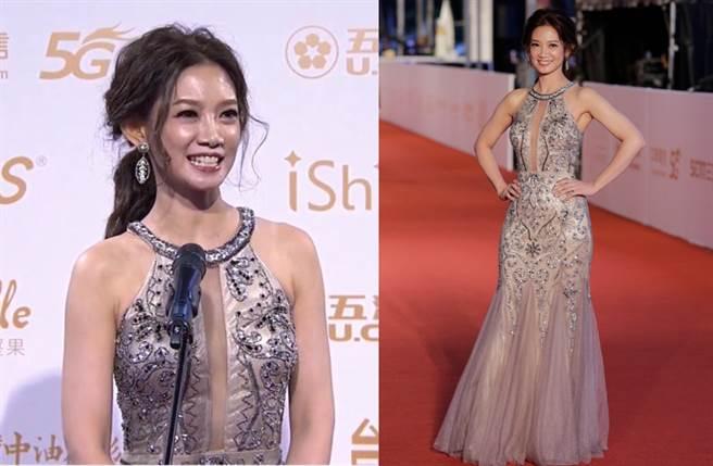 吳奕蓉穿上中空的深V長裙作為紅毯禮服,尤其在事業線的重點部位以薄紗點綴。(圖/YOUTUBE@廣播電視金鐘獎 Golden Bell Awards、廖映翔攝)