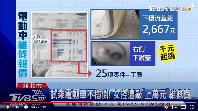 GOGORO不慎倾倒,女子收到维修单上洋洋洒洒列了25项零件与工资 (图/取自TVBS新闻)