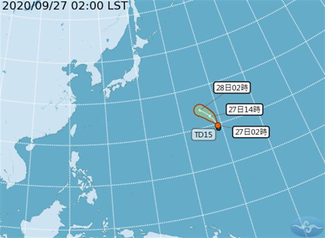 目前西北太平洋上新生成的熱帶性低氣壓TD15,未來兩天有機會發展成今年第13號颱風「鯨魚」,對台灣無直接影響。(取自氣象局)