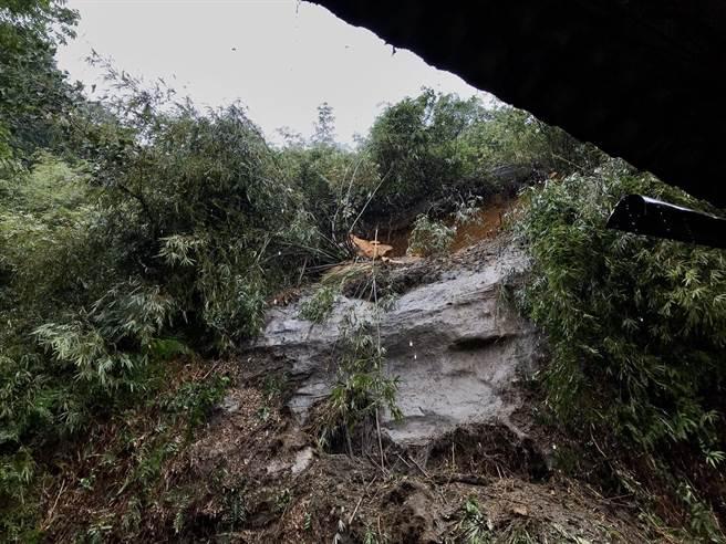 山壁還有許多大顆石頭,相當危險,住戶害怕得不敢再繼續居住,希望市府能從中協助。(陳彩玲攝)