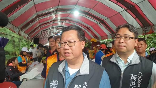 「市長聯盟」矮化台灣,鄭文燦抗議要求正名。(蔡依珍攝)