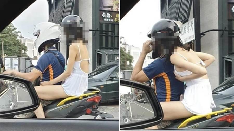 網友拍到機車後座的長腿嫩妹當眾扶奶,照片曝光網友暴動。(圖/截自臉書爆廢公社)