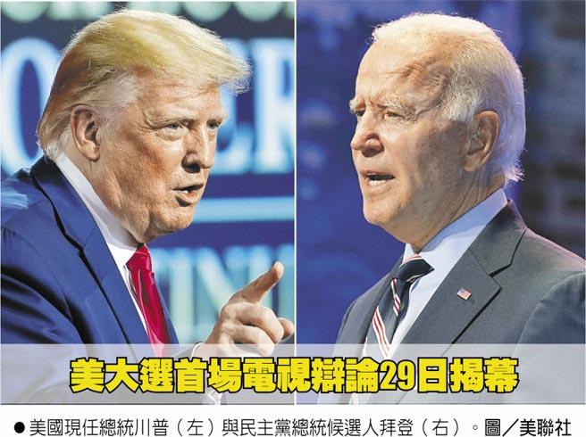 美国现任总统川普(左)与民主党总统候选人拜登(右)。图/美联社