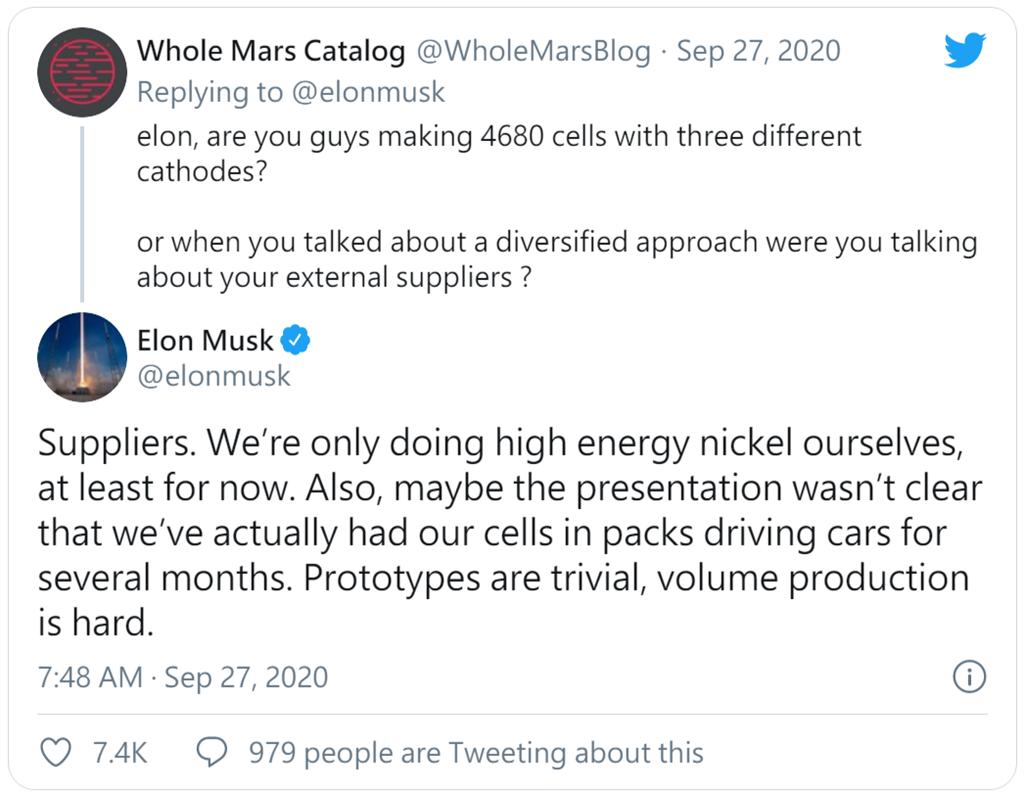 馬斯克透露 4680 新電池早已秘密用於特斯拉原型車,但要大量生產仍有難度