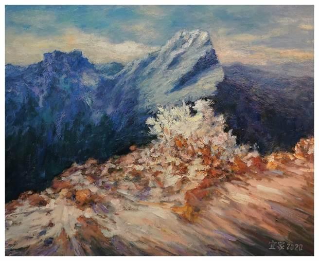 最美的玉山彩繪都在這,樂樂義廚展出油畫大師許宜家作品。(許宜家提供)