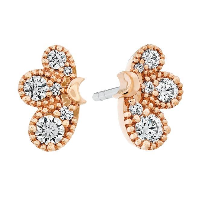 HEARTS ON FIRE BEHATI玫瑰金鑽石耳環,8萬8000元。(HEARTS ON FIRE提供)