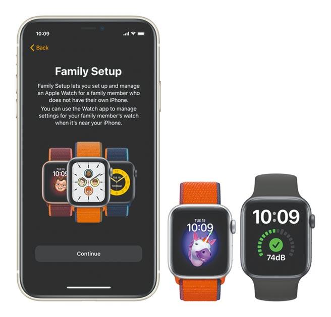 Apple Watch Series 4後的機型都可使用Family Set Up家人共享設定,掌握對方位置,有狀況可第一時間收到通知。(蘋果官網)