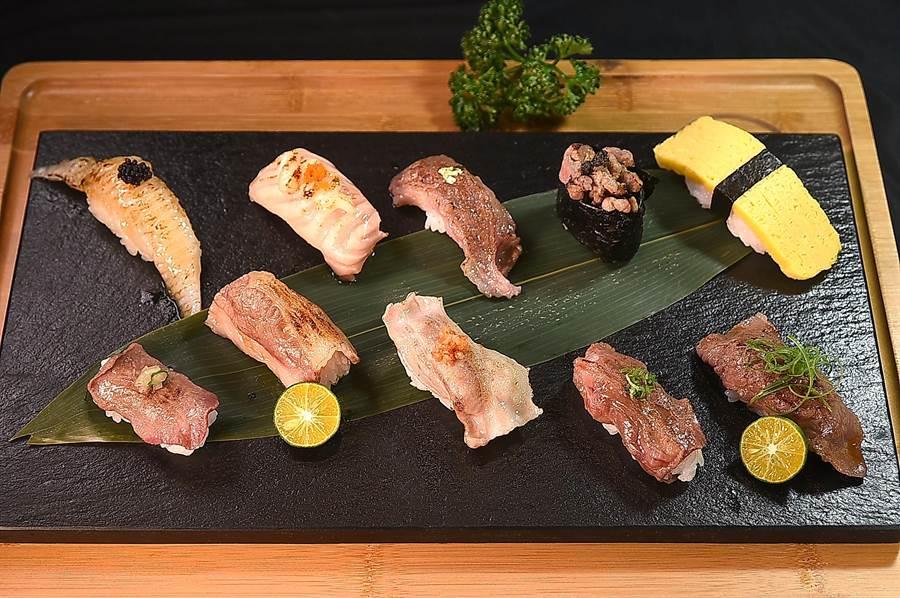 微風台北車站〈鐵火燒肉〉菜單上的〈十貫握壽司套餐〉要價498元,換算下來每貫握壽司不到50元,套餐並附漬物、湯品等。(圖/姚舜)