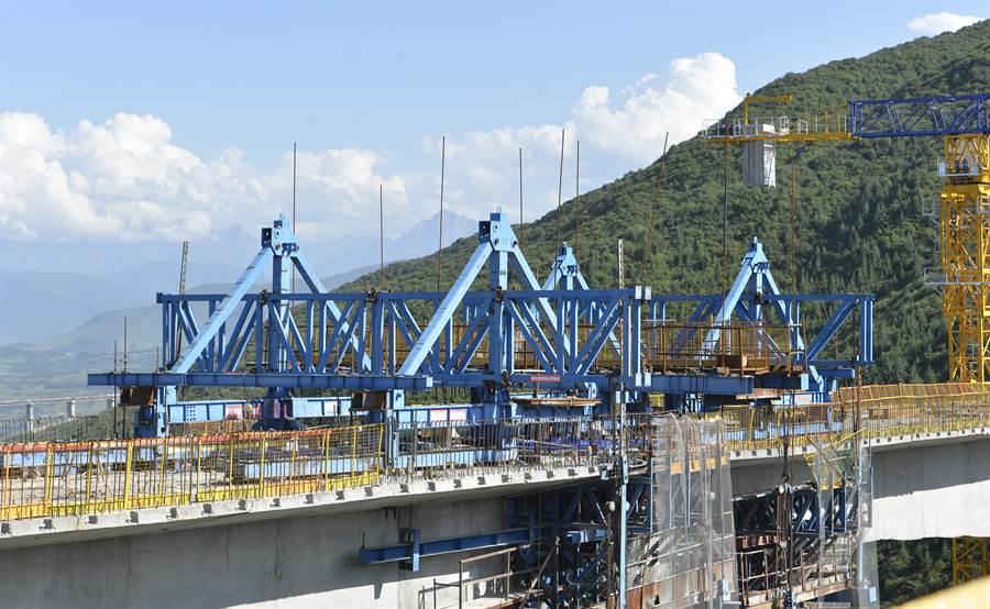 在疫情受控後,大陸推動經濟刺激政策,尤其是官方主導的大型基礎建設項目紛紛啟動。圖為2020年8月甘肅雙達公路特大橋樑建設。(圖/新華社)