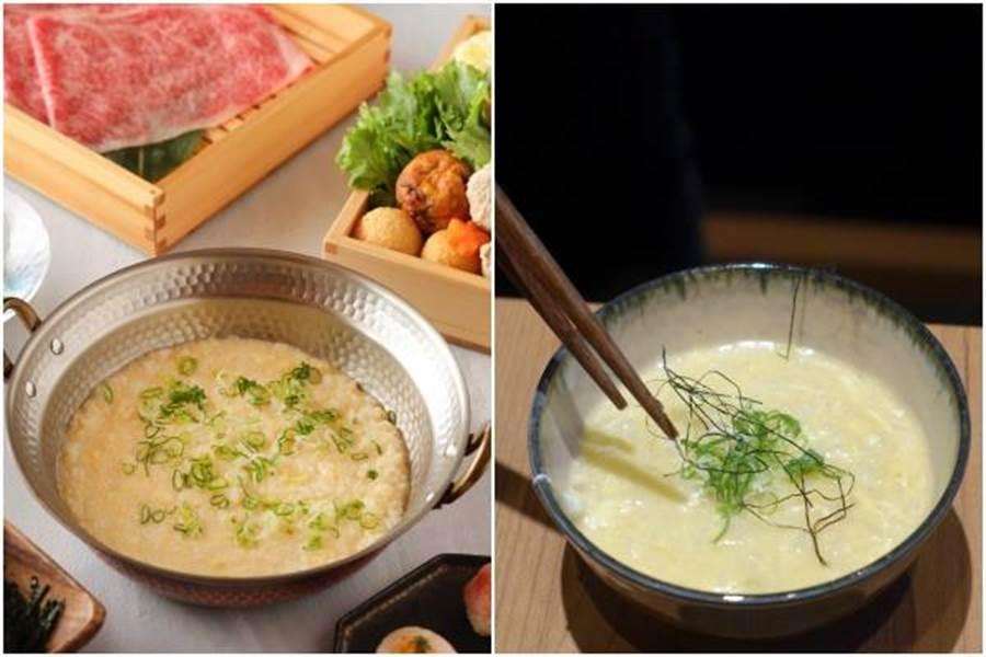 服務員提供「桌邊服務」將湯底加上越光米、土雞蛋煮出雜炊。(左圖為水炊軒提供、右圖黃采薇攝)