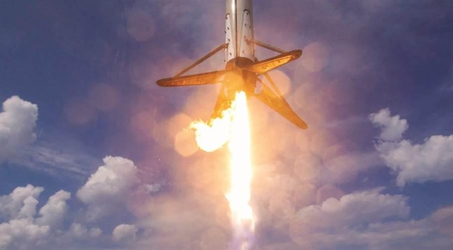 降落中的獵鷹火箭。(圖/spaceX)