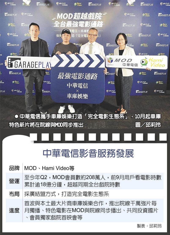 中華電信攜手車庫娛樂打造「完全電影生態系」,10月起車庫特色新片將在院線與MOD同步推出。圖/邱莉玲  中華電信影音服務發展