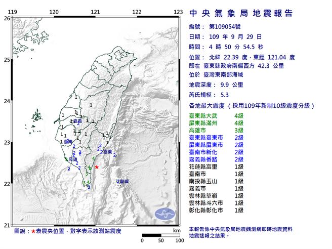 4時50分發生芮氏規模5.3地震(氣象局)